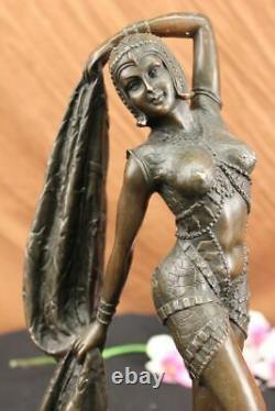 Art Deco Chiparus Erotic Dancer Bronze Sculpture Statue Cast Marble Figure