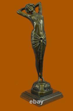 Art Deco Erotic Sexy Dancer By Leonard Bronze Sculpture Marble Base Large