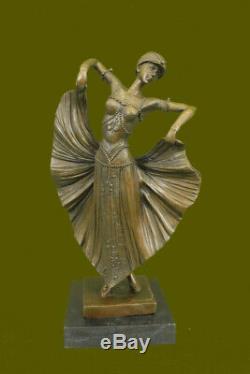 Art Deco Flair Dancer Bronze Sculpture By Chiparus Statue Marble Figurine