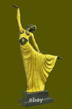 Art Deco Hot Fonte Bronze Gracious Ballerina Statue Sculpture Chiparus Gif