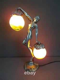 Art Deco Lamp In Silver Bronze French Glass (vase Etc.) Sculpture Woman