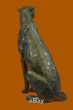 Art Deco Puma Jaguar Cheetah Wildlife Bronze Sculpture Figurine Statue Lost Wax