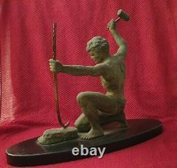 Art Deco Sculpture By Hervor, 1930 The Blacksmith Or Bronze Statue