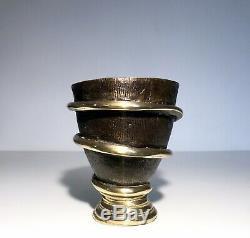 Art Deco Vase Sculpture Snake Brutalist Gilt Bronze Patina Difference Upfront