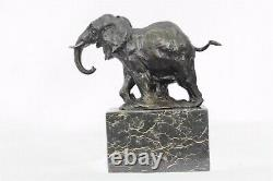 Art Deco Wildlife Elephant By Milo Bronze Font Sculpture Statue Figure Nr