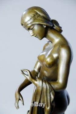 Art Nouveau - Naked To The Hound - Beautiful Bronze Sculpture Sig Cesaro- Free Shipping