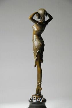 Art Nouveau Signed Demeter Chiparus, Bronze Sculpture- Art Free Shipping