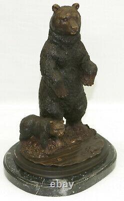 Artisanal True Bronze Sculpture Balance Deco Art Bear Grand Fonte Figure