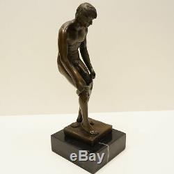 Athlete Naked Statue Sculpture Sexy Style Art Deco Art Nouveau Bronze Massive
