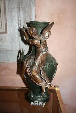 Auguste Moreau Large Vase Cast Bronze Patina Art Victrix Restore 44cm