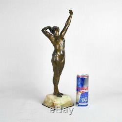 Awakening Sculpture In Bronze Nude Woman, Art Deco, 20th Century