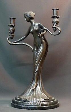 B Superb Statue Sculpture Bronze Art Nouveau Candlestick 5.5kg40cm Very Deco
