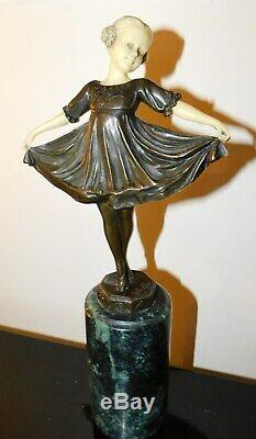Ballerina Sculpture, After Ferdinant Preiss, Style Art Deco Bronze