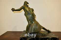 Beautiful And Great Sculpture Arlequin And Colombine Bronze Age Art Deco