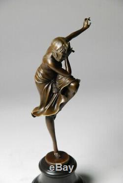 Beautiful Art Nouveau Sculpture By D. H. Chiparus Bronze. Free Shipping