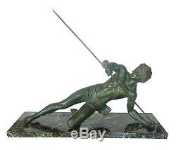 Beautiful Bronze And Marble Sculpture Art Deco The Gladiator Sign Secondo
