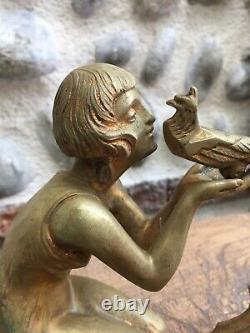Beautiful Bronze Sculpture Ancient Demeter Chiparus 1930 Art Deco Woman Bird