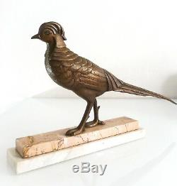 Beautiful Bronze Sculpture Of Art-déco Period Golden Pheasant On Marble Base