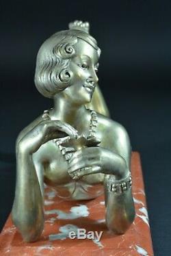 Bronze Age Art Deco Elegant Young Woman Naked Portrait Cabaret H. Molins