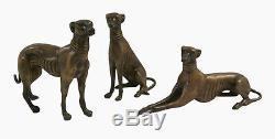 Bronze Animal Art Sculpture 3 Dogs Greyhound Hunt Decoration 15x18 CM