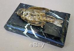 Bronze Animal Bird Signed Comolera Susses Brothers On Marble Art Deco 19th