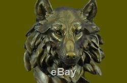 Bronze Animal Violent Wolf Head Art Statue Marble Figurine Art