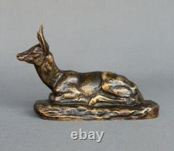 Bronze Animalier Biche Couché Clovis Masson Susse Frères Publisher Art Nouveau