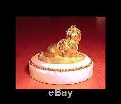 Bronze Art Deco Animal Bichon In A Ribbon Sculpture Patina Doree