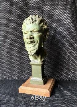 Bronze Art Deco Green Patina Rpresentant Mephistopheles Devil Sculpture