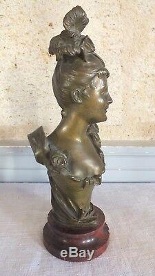 Bronze Bruyneel Woman Elegant Flower Sculpture Art Nouveau