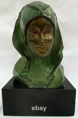 Bronze By G. Garreau, Sculpture Of A Female Bust Style Art Deco -1930