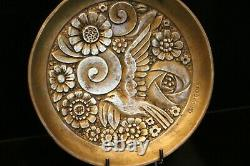 Bronze Cut With Floral Decoration With Art Deco Bird Signed By G. Huygens