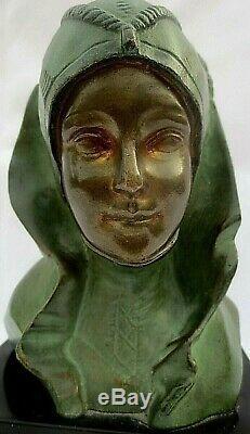 Bronze G. Garreau, Sculpture Of A Female Bust Style Art Deco -1930