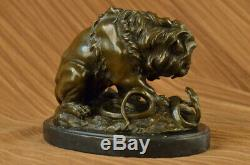 Bronze Lion And Snake Sculpture On Marble Base Art Ornament Figurine Massif