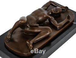Bronze Man Eroticism Art Nude Sculpture Antique Figurine 28cm