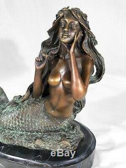 Bronze Marble Art Statue Mermaid Sculpture Marble Base Mythical Mermaid Statue