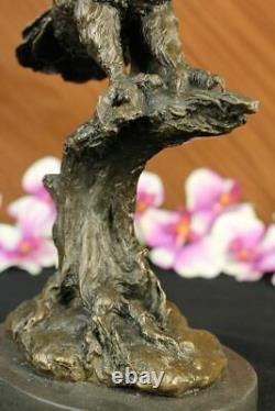 Bronze Marble Base Owl Bird Sculpture Statue Figure Art Decor In Wax