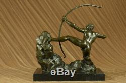 Bronze Metal Sculpture Art Deco Classic Male Archer Nud Arrow Statue X Deal