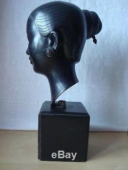 Bronze Of Than Le N'guyen (1919-2003) Young Laotian With The Bun Asian Art