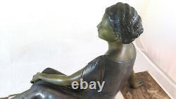Bronze Sculpture Ancient Art Deco Signed Uriano Ugo Cipriani Woman Bm4