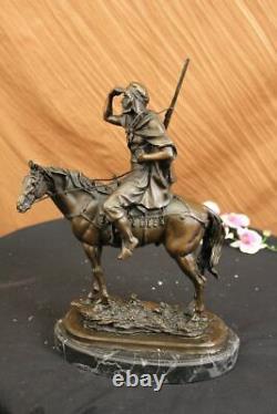 Bronze Sculpture Antoine Barye Arabe On Moroccan Horse Hunter Deco Art