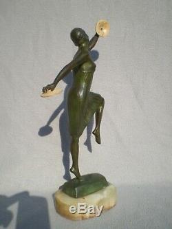 Bronze Sculpture Art Deco 1930 G. Vacossin Woman Chryselephantine Antique 30s