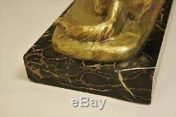 Bronze Sculpture Art Deco Nude Dog Rich Louis (1877-1949) 33 × 15 × 59 CM