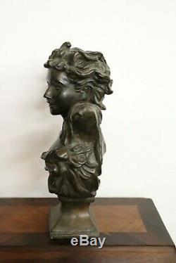 Bronze Sculpture Art Nouveau Bust Of A Girl