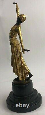 Bronze Sculpture D. H. Art Deco Egyptian Danc Statue Figure