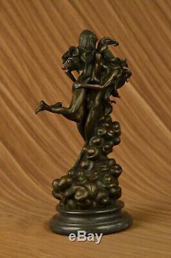 Bronze Sculpture Erotic Art Devil And Naked Femme'lost 'wax Original The Decor