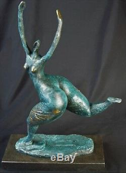 Bronze Sculpture Modern Art Abstract Nude Female Figurine XXL Signing