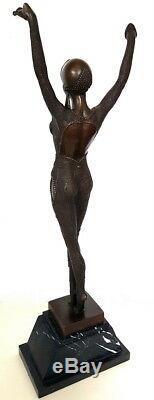 Bronze Sculpture On Base Marble Chiparus Dancer With Signature Art Deco
