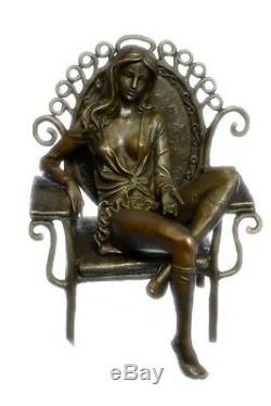 Bronze Sculpture Original Cesaro Naked Flesh Erotic Art Female Figurine Statue