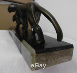 Bronze Sculpture Pantheres Art Deco Signed Michel Decoux